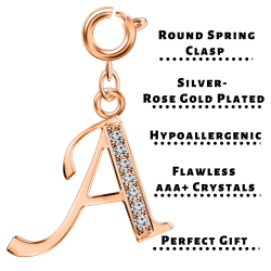 Silver Initials Charm with CZ  Crystals, Rose Gold Plated - Round Spring Clasp