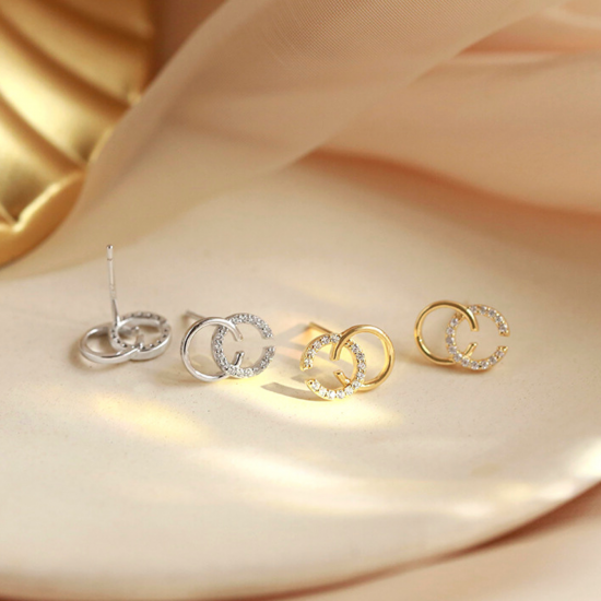 Double C Silver Stud Earrings AAA+ Crystals- Exquisite CC Style Chic Letter Design- Silver Gold Rose Gold