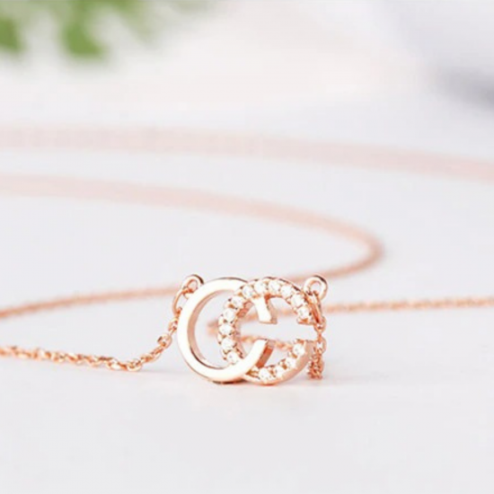 Double C Silver Stud Pendant AAA+ Crystals- Exquisite CC Style Chic Letter Design- Silver Gold Rose Gold