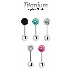 Titanium Barbell with Shamballa Crystal Ball - Available size from 6mm to 16mm