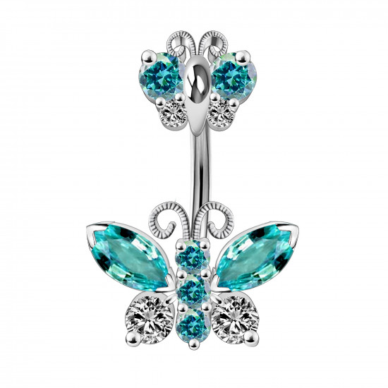Silver 925 Double Butterfly Design Belly Button Piercing Bars with CZ Crystals - Various Colours - All our Jewellery is Quality Checked by Sheffield Assay office