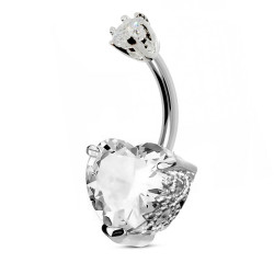 Sterling Silver Fancy Heart Design Belly Button Piercing Bar with CZ Crystals - Various Colours