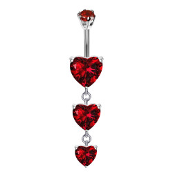 Triple Dangly Heart Drop Silver Belly Bars with CZ Crystals - Various Colours