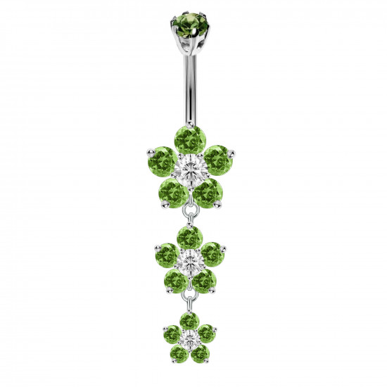 Sterling Silver 3 Drop Butter Cup Flowers CZ Crystal Belly Bars 1.6mm / 14G - Various Colours - All our Jewellery is Quality Checked by Sheffield Assay office
