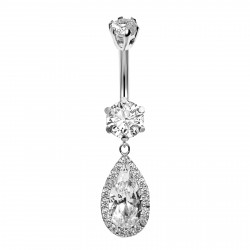 Silver Dangly Drop Belly Bars Surrounded with CZ Crystal - Various Colours