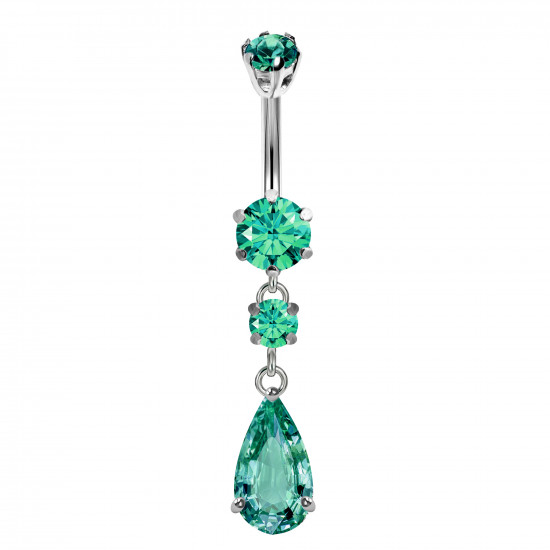 Sterling Silver Drop Dangle Belly Bars Made Of CZ Glass Stone Crystals - Various Colours - All our Jewellery is Quality Checked by Sheffield Assay office
