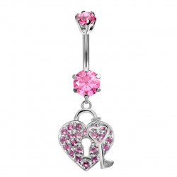 Heart & Key Belly Belly Bars in Silver with CZ Crystals - Various Colours