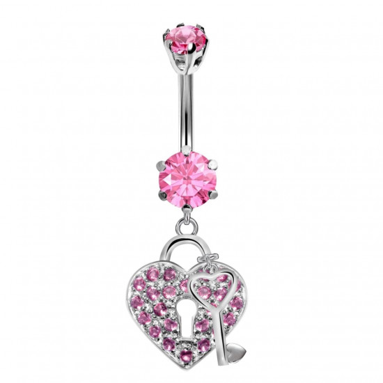 Heart & Key Belly Belly Bars in Silver with CZ Crystals - Various Colours - All our Jewellery is Quality Checked by Sheffield Assay office