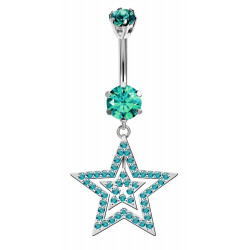 Double Star Dangle Belly Bars in Silver with CZ Crystals - Various Colours - All our Jewellery is Quality Checked by Sheffield Assay office