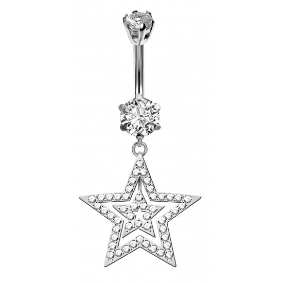 Double Star Dangle Belly Bars in Silver with CZ Crystals - Various Colours