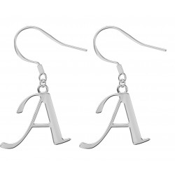 Silver Dangle Initials Earrings - Fashion Jewelry - Letters A to Z