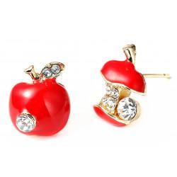 Adorable Apple Earrings/Pendant Set Painted with Enamel Colour