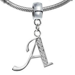 Pandora compatible Silver Initial Charm with CZ  Crystals - Fits all Pandora Bracelets - Letters A to Z