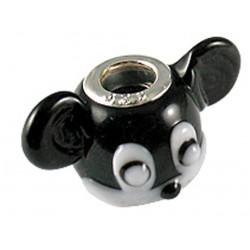 Murano Glass Mickey Mouse Head Bead Charms - Fits Pandora & Troll Bracelets - Various Colours