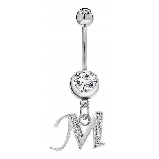 Sterling Silver Initial Dangle Belly Button Piercing Bars with CZ Crystals - Letters A to Z