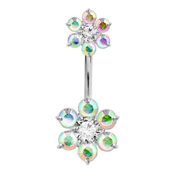 Double Flower Sterling Silver Belly Bars 1.6mm / 14G with CZ Crystals - Various Colours - All our Jewellery is Quality Checked by Sheffield Assay office