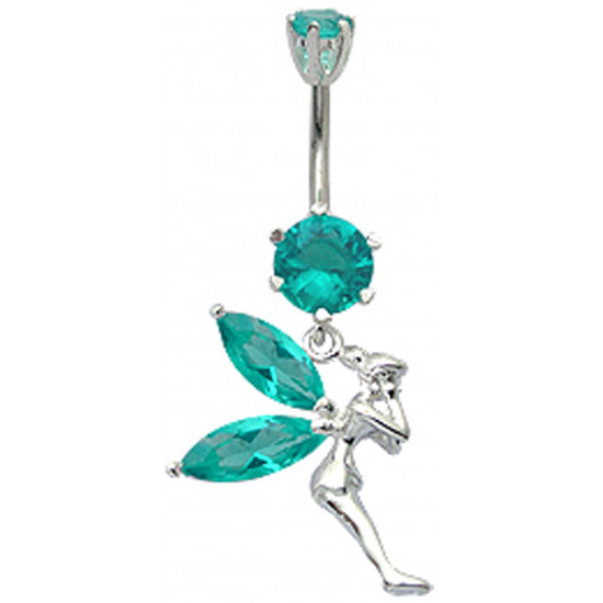 Sterling Silver Tinkerbell CZ Crystal Belly Bars 1.6mm / 14G - Various Colours