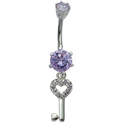 Beautiful Key Charm Belly Bars in Silver Studded with CZ Crystals - Various Colours