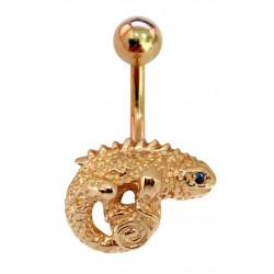 14K Gold Chameleon Lizard Belly Bar