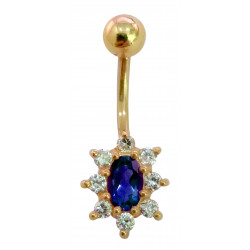 14K Gold Flower Belly Bar with CZ Crystals