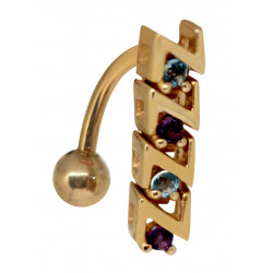 14K Gold Reverse Belly bar with Mixed Round Embedded CZ Crystals