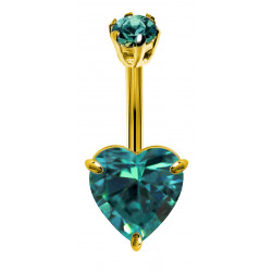 Sterling Silver Solitaire Heart CZ Clear Crystal in Gold Plating Belly Bars 1.6mm / 14G - Various Sizes