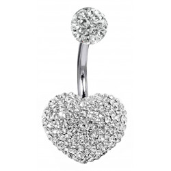 Stainless Steel Heart 3D Belly Bar with CZ  Crystals