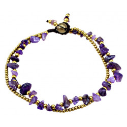 Natural Gem Stone Bracelet with Gold Plated Beads - Various Colours