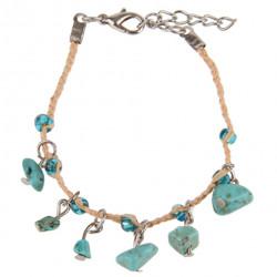 Natural Woven Raffia Bracelet with Imitation Stones - Various Colours