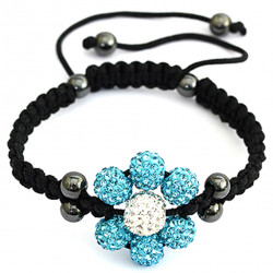 Braided Center Flower Bracelet with Beads and CZ Crystals - Various Colours