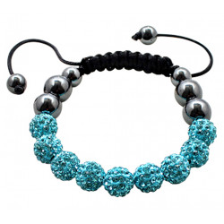 Shamballa Braided Bracelet with CZ Crystal Ball and Hematite Beads - Various Colours