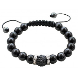 Braided Buddha Beads with Center Shamballa Ball CZ Crystals - Various Colours