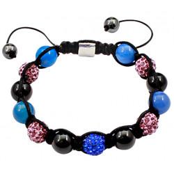 Shamballa Bracelet with Mixed Glass and Iced Out Shamballa Beads