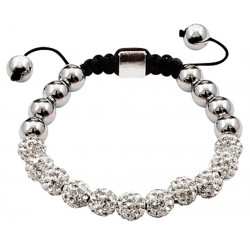 Shamballa Crystal Ball Bracelet Clear Color Iced Balls and Silver Alloy Beads