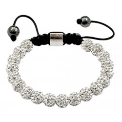 Shamballa Crystal Ball Bracelet Clear Color Iced Balls - Fits Lovely on Any Wrist