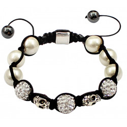 Shamballa Crystal Ball Bracelet with Clear Glass Balls and Skull Design