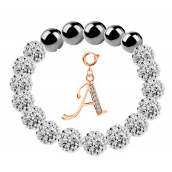 Shamballa Stretchable Bracelet CZ Crystal Studded with Rosegold Plated Initial Charm Beads - Letters A To Z
