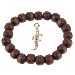 Wooden Stretchable Bracelet with Rosegold Plated Initial Charm Beads - Letters A To Z
