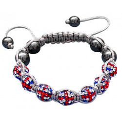 "Shamballa Bracelet with Union Beads and Grey Strand - Adjustable Size Fits 7"" To 9"""