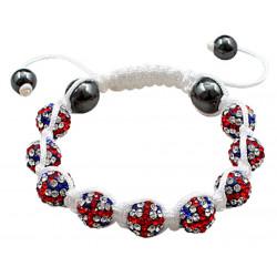 "Shamballa Bracelet with Union Beads and White Strand - Adjustable Size Fits 7"" To 9"""