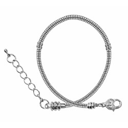 """Silver Plated Pandora Style Bracelet with Large Heat Clasp - Sizes 6.5"""" to 9"""" with Extensions - Various Sizes"""