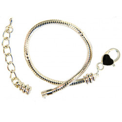 Silver Plated Pandora Style Bracelet with Enamel Paint Heart Clasp - Various Sizes