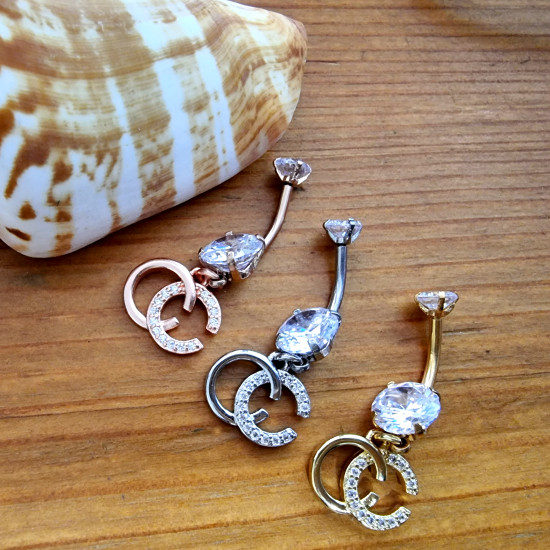 CC Internal Belly Bar with Double C Silver Charm Dangle - AAA+ Crystals - Silver Gold Rose Gold - British Standard - Certified by Sheffield Assay Office