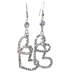 Dangle Double Open Heart Earrings Studded with CZ Crystals