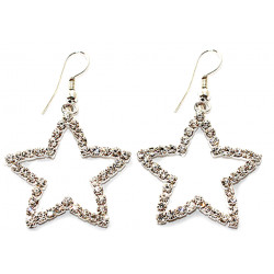 Dangle Open Star Earrings Studded with CZ Crystals