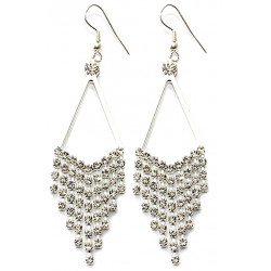 Chandelier Dangle Earrings Silver Plated with CZ Clear Crystals