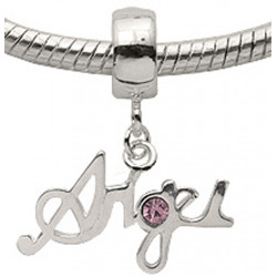 Silver Angel Charm with CZ  Crystals for Pandora Bracelets or Necklace