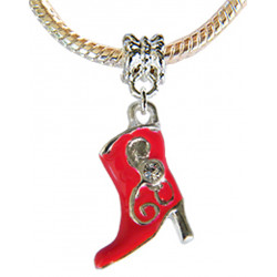 Silver Football Boot Shoe Charm for Pandora Bracelets -  Hand Painted with Enamel