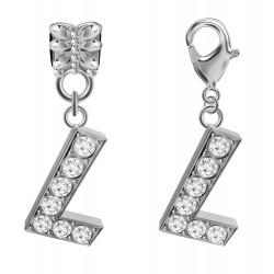 Silver Plated Alphabet Charm  - 2 Pieces Bead Charm with CZ Crystals - Fits all Pandora Bracelets - Letters A to Z
