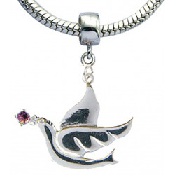 Silver Dove of Peace Design With CZ  Crystals for Charm Bracelet